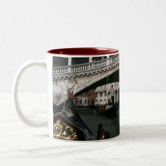 Rialto Bridge Venice Gondolas Lagoon Two-Tone Coffee Mug