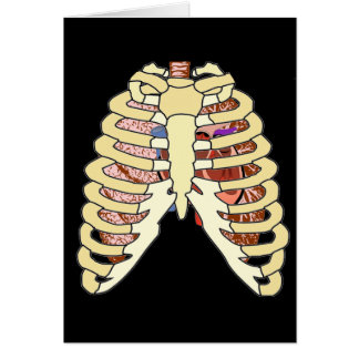 Rib Cage Lungs & Heart Greeting Card