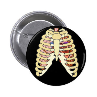 Rib Cage Lungs & Heart Lg 2 Inch Round Button