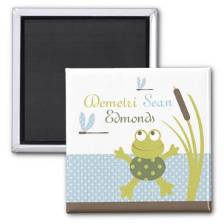 Ribbit Frog and Dragonfly 2 Inch Square Magnet