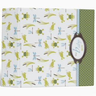 Ribbit Frog and Dragonfly Baby Memory Book 3 Ring Binder