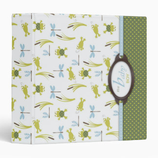 Ribbit Frog and Dragonfly Baby Memory Book 3 Ring Binder