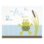 Ribbit Frog and Dragonfly Baby Shower Advice Card Flyers