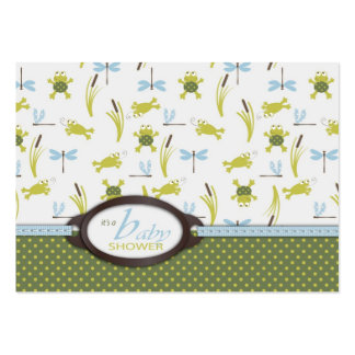 Ribbit Frog and Dragonfly Baby Shower Business Cards