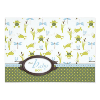 Ribbit Frog and Dragonfly Baby Shower Card