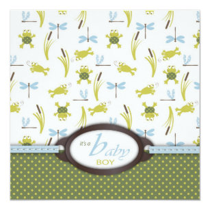 Ribbit Frog And Dragonfly Baby Shower Invitation