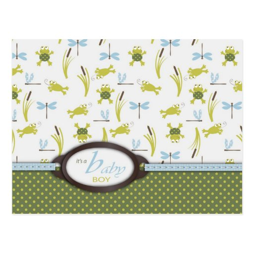 Ribbit Frog and Dragonfly Baby Shower Postcard
