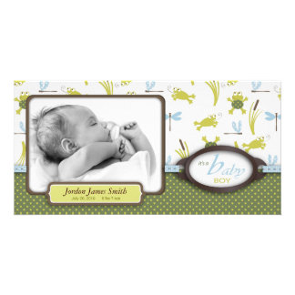 Ribbit Frog and Dragonfly Birth Announcement