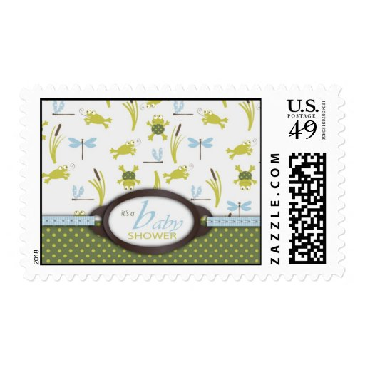 Ribbit Frog and Dragonfly Postage Stamp