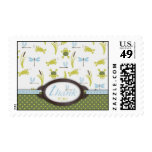 Ribbit Frog and Dragonfly Postage Stamps