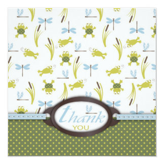 Ribbit Frog and Dragonfly Thank You Card