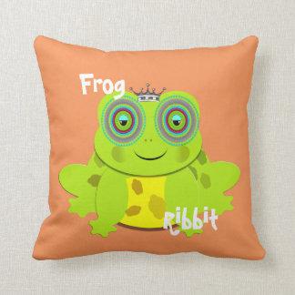 Ribbit Ribbit Cute Kids Cartoon Frog Throw Pillow
