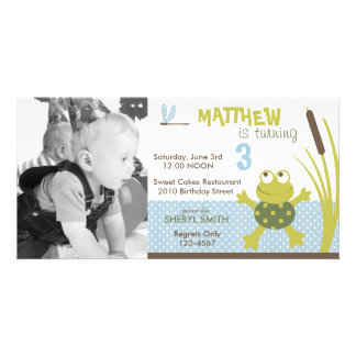 Ribbit Swimming Frog Birthday Invitation PC Personalized Photo Card