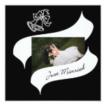 """Ribbon and Bells Wedding Thank You 5.25"""" Square Invitation Card"""
