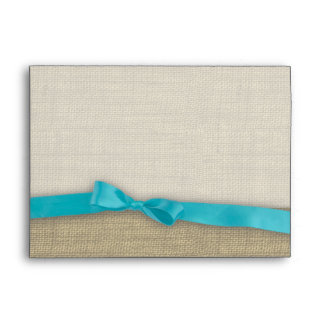 Ribbon and Burlap Blue Envelope
