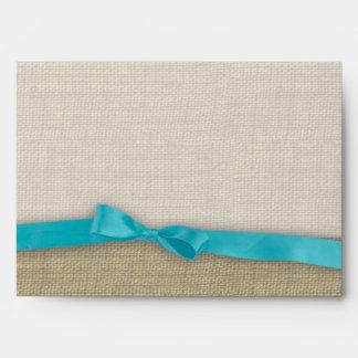 Ribbon and Burlap Blue Envelopes