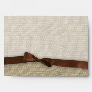 Ribbon and Burlap Brown Envelope