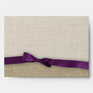 Ribbon and Burlap Purple Envelopes