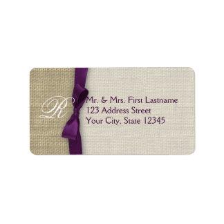 Ribbon and Burlap Purple Label