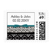 ribbon and lace aqua postage