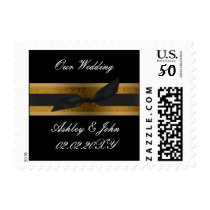 ribbon and lace gold postage