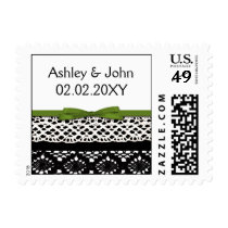 ribbon and lace green postage