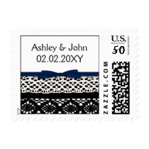 ribbon and lace navy postage