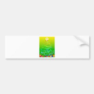 Ribbon and Star Christmas Tree Bumper Sticker