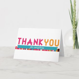 Pretty Thank You card with Stripes and Ribbons