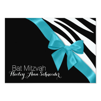 Ribbon and Zebra Stripes Bat Mitzvah Card