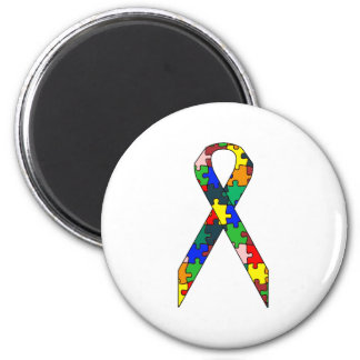 Ribbon Autism Awareness 2 Inch Round Magnet