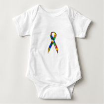 Ribbon Autism Awareness Baby Bodysuit