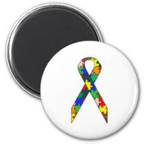 Ribbon Autism Awareness Magnet