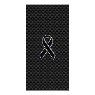 Ribbon Awareness Black Carbon Fiber Card