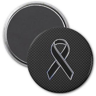 Ribbon Awareness Black Carbon Fiber Magnet