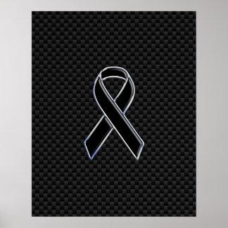 Ribbon Awareness Black Carbon Fiber Poster