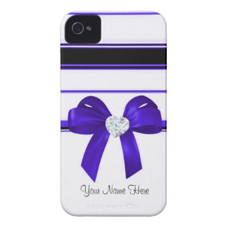 Ribbon & Bling Heart Diamond [blue] iphone4 iPhone 4 Cover