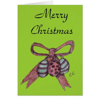 Ribbon Bow & Bauble Christmas Card