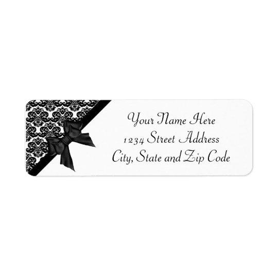 Ribbon Bow Black and White Damask Label