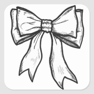 Ribbon bow black and white drawing square stickers