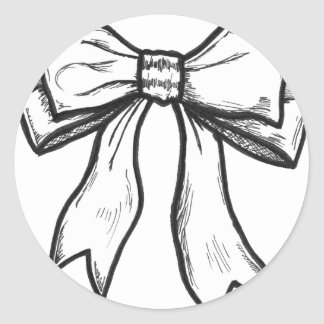Ribbon bow black and white drawing sticker