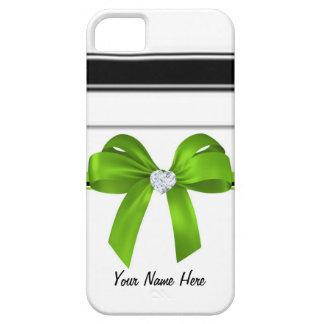 Ribbon Bow & Bling Heart Diamond [green]-iphone4 iPhone SE/5/5s Case