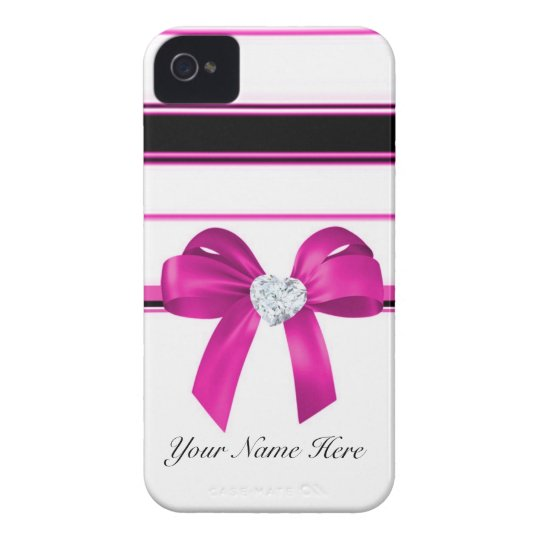 Ribbon Bow & Bling Heart Diamond [pink]-iphone4 iPhone 4 Cover