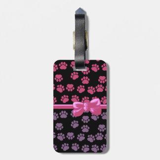 Ribbon, Bow, Dog Paws, Paw-prints - Pink Purple Bag Tag