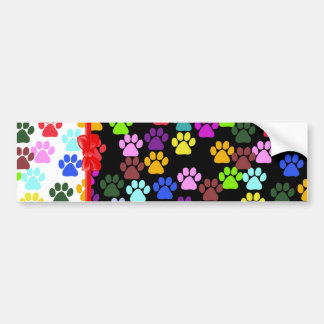 Ribbon, Bow, Dog Paws, Paw-prints - Red Blue Green Bumper Sticker