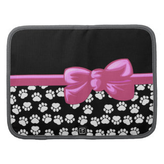 Ribbon, Bow, Dog Paws, Traces - White Black Organizers
