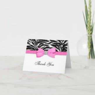 Ribbon Bow Hot Pink Zebra Thank You Cards zazzle_card