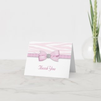 Ribbon Bow Pink Zebra Thank You Cards zazzle_card