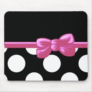 Ribbon, Bow, Polka Dots, Spots - Black White Pink Mouse Pad