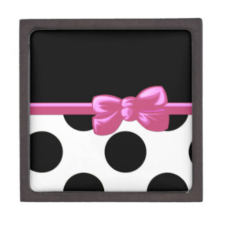 Ribbon Bow Polka Dots - White Black Pink Premium Jewelry Box
